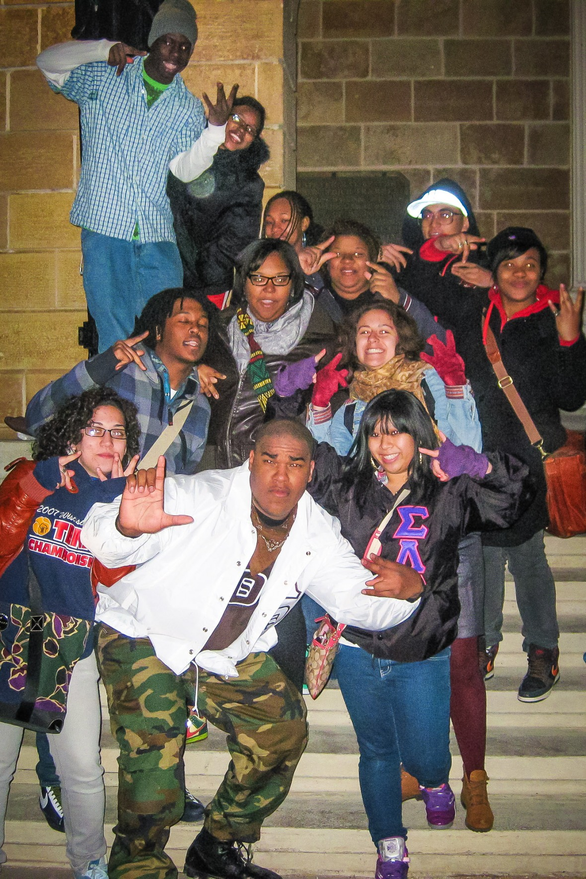 I saw Andrew become a part of Greek life with the Lambda Theta Phi Latin Fraternity Inc. Here is he posing with his fellow First Wavers on the night of his initiation. And no those aren't gang signs if you must know.